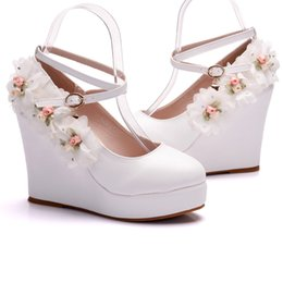 Crystal Queen Woman White Wedding Shoes High Heel Bridal Shoes For Woman  Pumps Fashion Design Flower Lace Bridesmaid Shoes 1d23f2014212