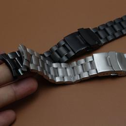 Новый браслет из нержавеющей стали ремешок для часов ремешок Серебряный и черный безопасности Пряжка складной развертывания ремешки для часов изогнутый конец 18 20 22 24 мм Горячий cheap 24mm steel watch bracelet от Поставщики 24мм браслет из стали