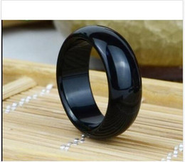 Wholesale Natural Faceted Agate Ring - wholesale natural black faceted jade agate rings Inside diamete