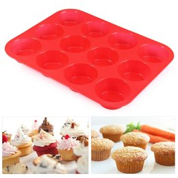 Wholesale Fondant 12 - Wholesale- 12 lattices Silicone Cake Mold Fondant Cupcake Decorating Cake Tools Forms For Cookies Bakeware Kitchen Accessories 29.5x22cm