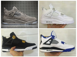 Wholesale Cool Shoe Brands - Mens Athletic KAWS Retro 4 Cool Grey Basketball Shoes Brand IV 4s Motorsport PURE Money Royalty Sports Sneakers With Originals Box