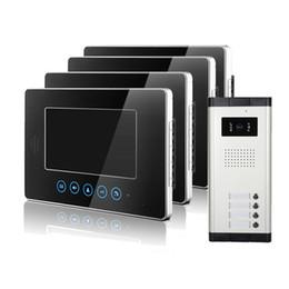 Wholesale Color Video Door - XSL-V70T-520-1V4 touch key below video door phone 7 inch color screen and intercom with 4 buttons rainproof doorbell