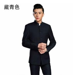 Wholesale Wedding Dress Costume Xl - Blazer men formal dress latest coat pant designs chinese tunic suit men costume marriage wedding suits for men's stand collar