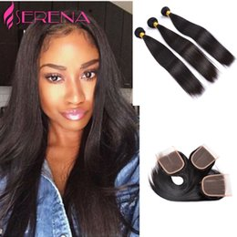 "weave bundles three part closure Promo Codes - Free Three part (4""x 4"") top lace closure with 3 bundles Silky Straight hair extension weft 100% human hair weave Brazilian Hair"