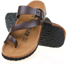Wholesale t cork - Wholesale-Free Shipping 2016 Summer New Men Sandals Outdoor Casual Flats Solid Mixed Color Cork Slippers Beach Shoes Slides Plus Size