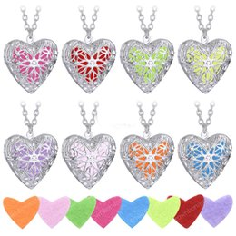 Wholesale Essentials Girls - Fashion Heart Aromatherapy Perfume Essential Oil Diffuser Locket Necklace Jewelry Hollow love Floating Pendant Necklaces For Women Girl
