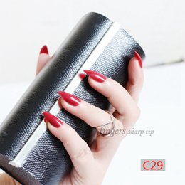 Wholesale Pointed Nail Tips - 2018 24pcs Solid color pointed hand finger false nail.Fashion must be red C29