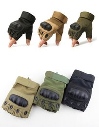 Wholesale Carbon Knuckle Gloves - Tactical Gloves Military Army Paintball Airsoft Outdoor Sports Gloves Shooting Police Carbon Hard Knuckle Full Finger  Fingerless Gloves