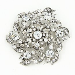 Wholesale Diamante Wedding Bouquets - Hot Selling Clear Diamante Flower Bridal Bouquet Brooch Luxury Big Flower Vintage Style Women Costume Pins Brooches High Quality