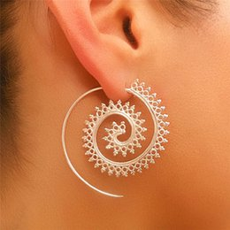 Wholesale Celtic Tribal - Wholesale- New Unique Design 1 Pair Spiral Charms Indian Ethnic Tribal Hoop Earrings Women Silver Earrings Piercing Jewelry