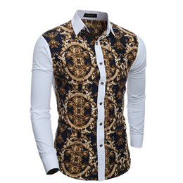 Wholesale Dress Trendy Tops - New Trendy Leisure Man Dress Shirts Long Sleeve Single-breasted Dress Shirts Men Slim Spring Fall Clothing Fashion Printing Tops M-XXL