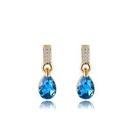 Wholesale Cheap Gold Earrings Diamonds - Chandelier Earrings Dangle Earrings Blue Diamond Water Drop Earrings For Women Rose Gold Cheap Eardrop Party Gift 2020659093