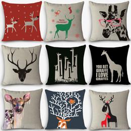 "Wholesale Cheap Throw Cushions - Wholesale- Cheap cushions christmas deer Print Home Decorative Cushion Throw Pillow 18"" Vintage Cotton Linen Square Pillows MYJ-A8"