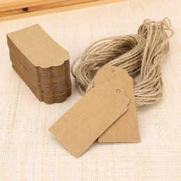 Carta etichetta kraft online-100X Brown Kraft Tag in carta di pizzo pettine Head Label Bagagli Nozze Note + String FAI DA TE Blank prezzo Hang tag Kraft Gift Hang tag