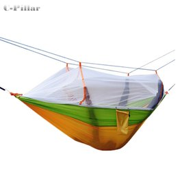 Wholesale Fabric Double Hammock - Wholesale- 3 Colors Hammock Mosquito Net Double Portable Parachute Nylon Fabric Hammock for Travel Camping Outdoor Large Garden Hang Swing