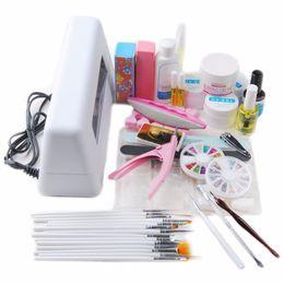 Wholesale Led Uv Gel Topcoat - Wholesale- New 9W UV Nail Art Pro DIY Full Set Led UV Gel Polish Manicure File Topcoat Cleanser Curing Lamp Kit Set
