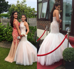 Wholesale Halter Red Lace Dress Celebrity - Luxurious Halter Neck Mermaid Prom Dresses Beaded Lace Up Back Tulle Formal Celebrity Evening Dresses Prom Gowns Special Occasion Dresses