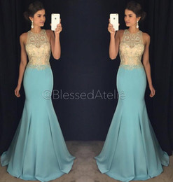 Wholesale Noble Crystal Blue Green - Luxurious Beaded Crystals 2017 Arabic Prom Dresses Crew Mermaid Satin Sexy Evening Dresses Noble Formal Party Gowns