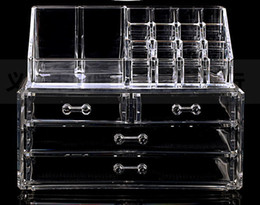 Wholesale Organizer Drawers - Wholesale- Cosmetic Cases Clear Acrylic Cosmetic Display Makeup Organizer Box Case 2 Storage Drawer Holder Make Up Storager Boxes