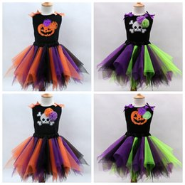 Wholesale Holloween Clothing - Little Gilr's Holloween Cosplay Color Match Tutu Skirts Vest Set Kids Festival Costumes children clothing top quality