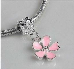 Wholesale Cherry Plum Blossom - Fits Pandora Bracelets 30pcs Cherry Blossom Plum Silver Charm Beads Chamilia Charms For Wholesale Diy European Necklace Snake Chain Bracelet