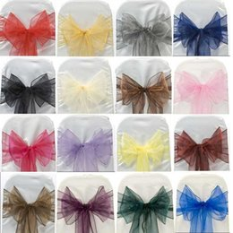 Wholesale Organza Chair Sashes Blue - Chair Sashes Wedding Chairs Organza Bows For Wedding Chair Sashes For Wed Events Supplies Party Decoration Chair Cover Sash Various Colors