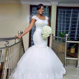 vestidos brancos de mão cheia Desconto 2017 branco sereia vestido de noiva feito à mão completa beading áfrica sexy vestidos de novia tule casamento noivas vestido plus size