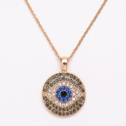 Wholesale Evil Eye Gold Plated - 18K Gold Plated Evil Eye Necklace For Women Crystal Blue Black Strass Pendant Necklaces Women Charms Necklace 12PCS