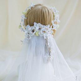 Wholesale Beaded Floral Veils - Bohemian Bridal Veils wreath Whith Beaded BOHO Floral Headdress Headpiece Wedding Bride Bridesmaid Hair Wreath Cheap Wedding Net In Stock