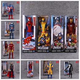 Wholesale Marvel Avengers Heros Figures - Avengers PVC Action Figures Marvel Heros 30cm Iron Man Spiderman Captain America Ultron Wolverine Figure Toys 7 Styles