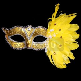 Wholesale Colored Face Masks - Masquerade Feather Masks Christmas Colored Halloween Birthday Party Women's Fashion Mask Stage Performances Supplies