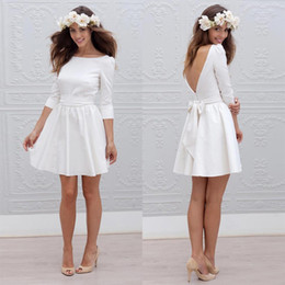 Wholesale Cheap Informal Wedding Dresses - White Short Informal Wedding Dress With 3 4 Sleeve Simple Cheap Mini Reception Bridal Gowns Sexy 2017 Open Back Bride Wedding Party Dresses