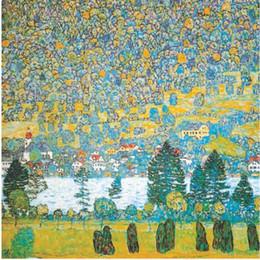Famosas pinturas al óleo del paisaje online-Famoso arte de Gustav Klimt Paisajes de la ladera de la montaña en Unterach Pintado a mano Pinturas al óleo reproducción de la lona Decoración del hogar