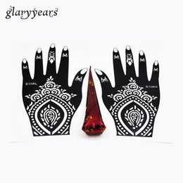 Wholesale Flower Tattoo Stencils - Wholesale-1 Pair Hands Henna Stencil + 1 Piece Brown Color Henna Paste Flower Lace Hollow Decal Mehndi Tattoo Stencil Hands Art Paint Draw