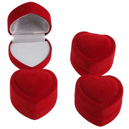 Wholesale Wholesale Heart Shaped Boxes - Wholesale 24Pcs Romantic Engagement Red Velvet Valentine's Day Birthday Heart Shape Ring Gift Boxes