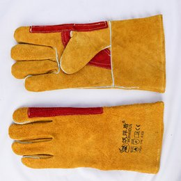 Wholesale Yellow Work Gloves - Finger Palm Protection Cowhide Cotton Yellow Welding Gloves High Temperature Wear-Resistant Work Labor Protection for Cutting, Welding