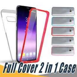 Wholesale Iphone Front Back Skin - Hybrid Case Full Body Protection PC+TPU Front Back Touch Screen Skin Cover Case For iPhone 8 7 6 6S Plus 5 5S Samsung S7 Edge S8 Plus