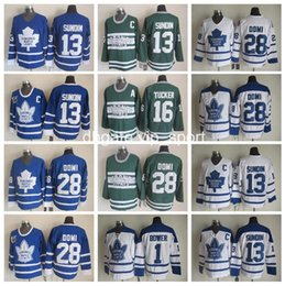 Wholesale White Men S Ties - Throwback Toronto Maple Leafs Jerseys Ice Hockey Men 13 Mats Sundin 28 Tie Domi 1 Johnny Bower 16 Darcy Tucker Jersey Vintage Blue White