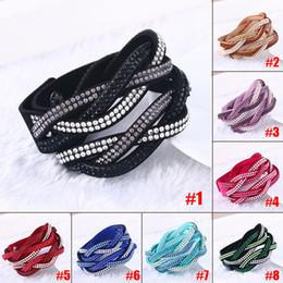 Wholesale Leather Wrap Bracelets For Women - Wholesale- Fashion Rhinestone PU Leather Wrap Bracelet Crystal Multilayer Bracelets Bangles for Women @M23