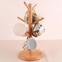 Wholesale Wooden Coffee Mugs - 6 Hook Peg Wooden Hanging Tea Cup Coffee Mug Tree Rack Holder Cups Display Shelf Hanger Kitchen Storage 16x35cm ZA3086