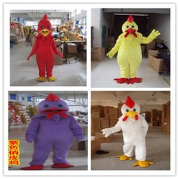 Wholesale Chinese Full Size Dolls - EMS 4 color big cock doll clothing, Chinese zodiac cockpit animal Mascot Costume Fancy Dress Adult Size,White yellow red cock doll dress