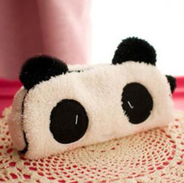 Wholesale kawaii panda plush - Wholesale-Cute Cartoon Kawaii Plush Panda Pencil Box Lovely Pen Case Korean Stationery School Supplies for KidsFree shipping