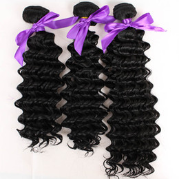 Wholesale Deep Wave Synthetic Weave - Top grade deep wave Hair Weft Fiber natural color 1B 3bundles for full head synthetic Hair Weave Extension free shipping