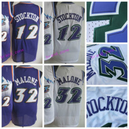 Wholesale El Flashing Shirts - Men Retro 32 Karl Malone Jersey Uniform Rev 30 New Material 12 John Stockton Throwback Shirt Breathable Home Alternate Purple White