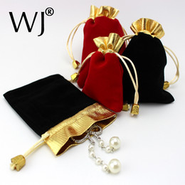 Wholesale Wholesale Jewelry Carrying Case - 100pcs Luxury Jewellery Pouches Packing Velvet Gift Bags Wedding Jewelry Ring Necklace Bracelet Holder Drawstring Carrying Case