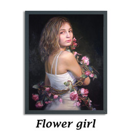 Wholesale Wall Paintings Without Frames - The modern home decoration wall canvas painting, canvas print painting, the girl who is surrounded by flowers, without frame, suitable for l