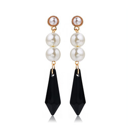 Wholesale Earing For Wholesale - RAVIMOUR Spike Crystal Long Earrings for Women New 2017 Fashion Imitated Pearl Jewelry Gold Color Punk Earing Korean Brincos