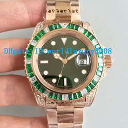 Wholesale Eta Men Watch - Luxury Brand Red Gold Automatic ETA 2836 Movement Men's watch Green White Diamonds Bezel Sapphire crystal Green Dial Fashion Man watches