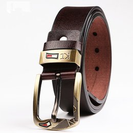 Wholesale Girls Brown Leather Belts - Men KT Belts Luxury cow Leather Designer High Quality Ceinture Homme Cinto Masculino Luxo Crocodile Cinturones Hombre free shipping