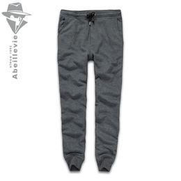 Wholesale Plus Tall - Wholesale-Abeillevie New Fashion Cotton Long Men's Pants Solid French Terry Casual Pants Men Big & Tall Plus Size Joggers SweatPants 8611